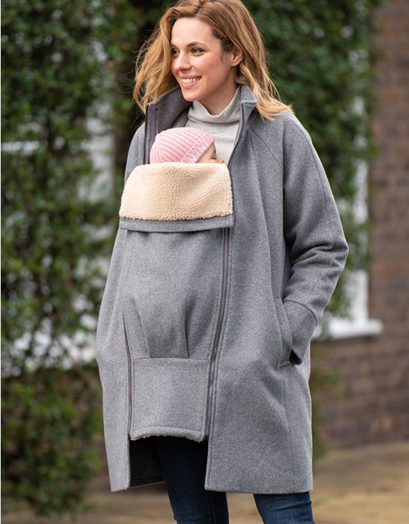 Image for 6 in 1 Grey Maternity Coat with Fleece Gilet