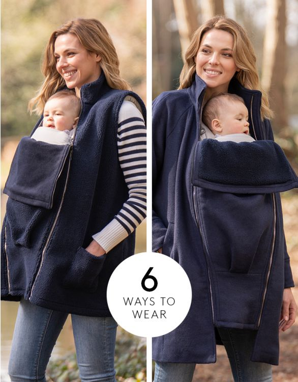 Image for 6 in 1 Navy Maternity Coat with Fleece Gilet