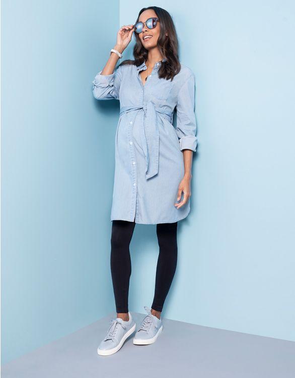 Image pour Chemise grossesse en chambray de coton - Bleu clair