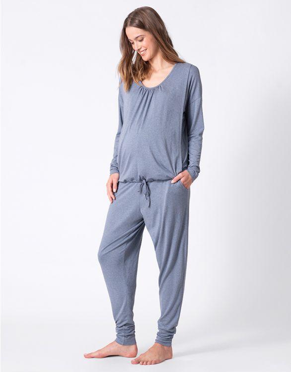 Image pour Ensemble loungewear grossesse et allaitement ultra doux – Bleu barbeau