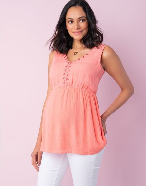 Image for Coral Embroidered Maternity & Nursing Top