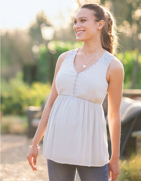 Image for Ice Blue Embroidered Maternity & Nursing Top
