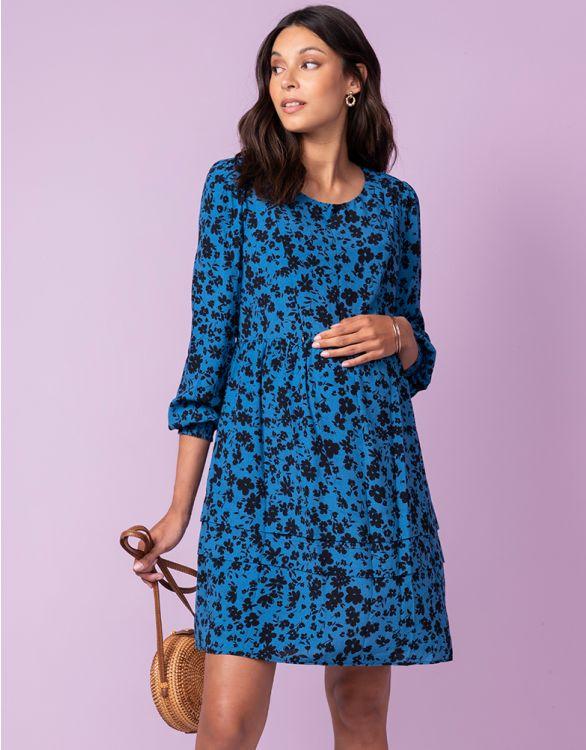Image pour Robe grossesse et allaitement à fleurs – Bleu