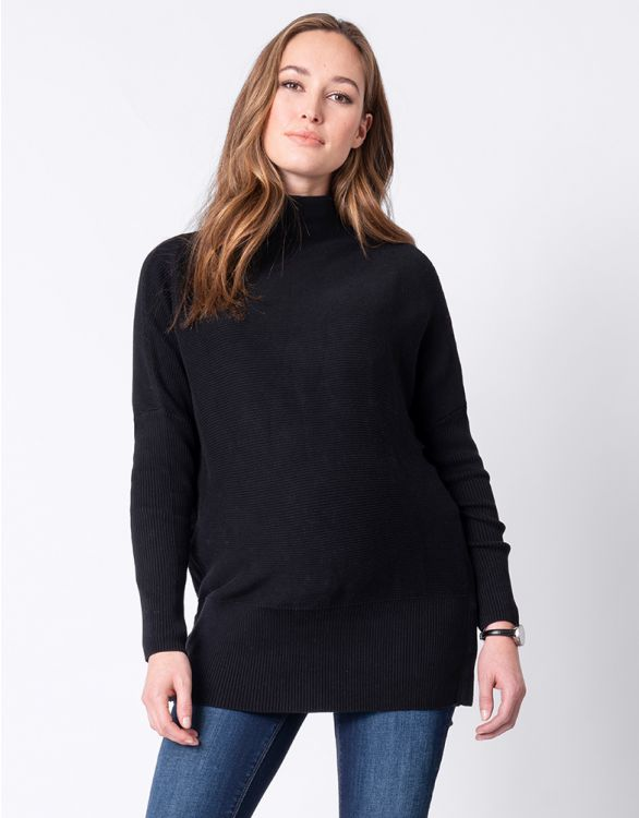 Image for Black Cotton Maternity & Nursing Jumper