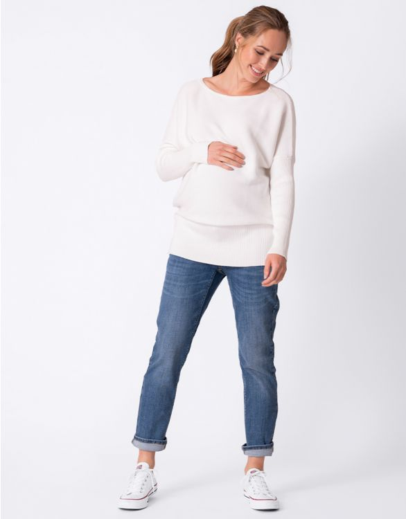 Image for White Cotton Knit Maternity & Nursing Jumper