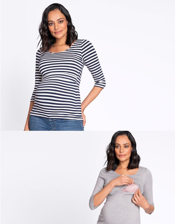 Image for Maternity & Nursing Tops – Grey & Stripe Twin Pack