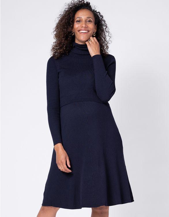 Image pour Robe grossesse et allaitement en maille côtelée – Bleu marine