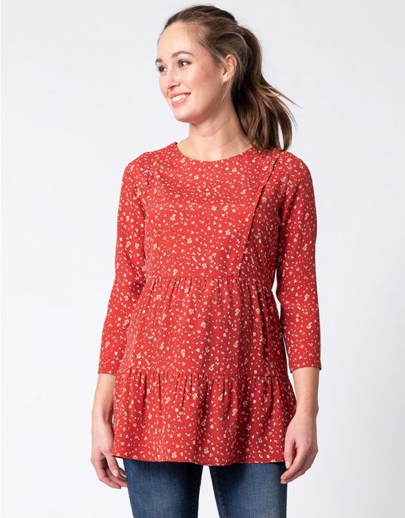 Image for Woven Red Maternity & Nursing Top