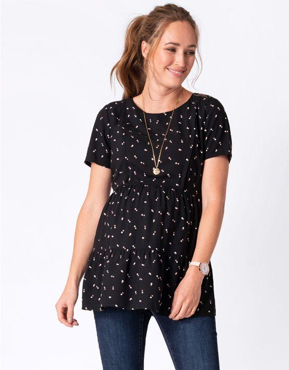 Imagen de Camiseta premamá y lactancia manga corta Negra