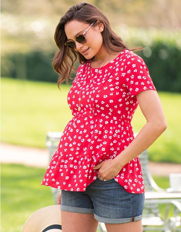 Image pour Haut grossesse et allaitement manches courtes – Rouge