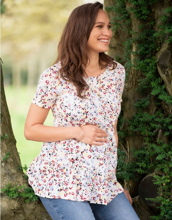 Image for Woven Floral Maternity & Nursing Tee
