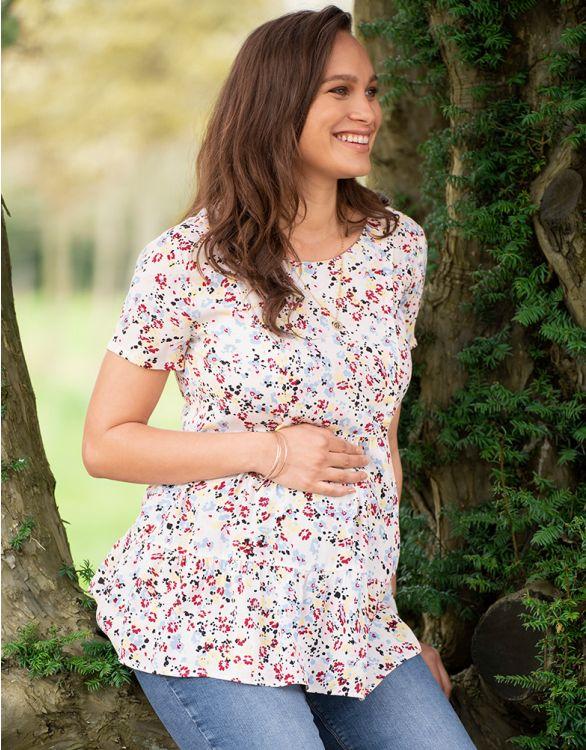 Image pour Haut grossesse et allaitement manches courtes – Blanc
