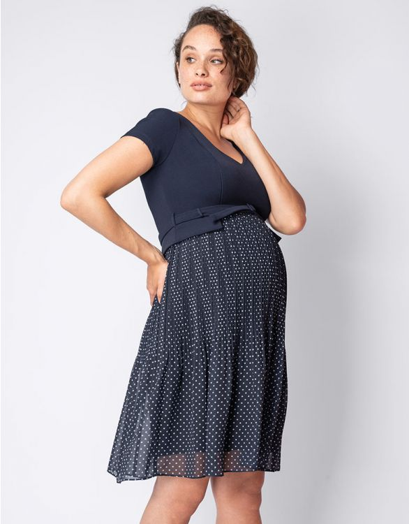 Image for Navy Blue Pleat Maternity & Nursing Dress
