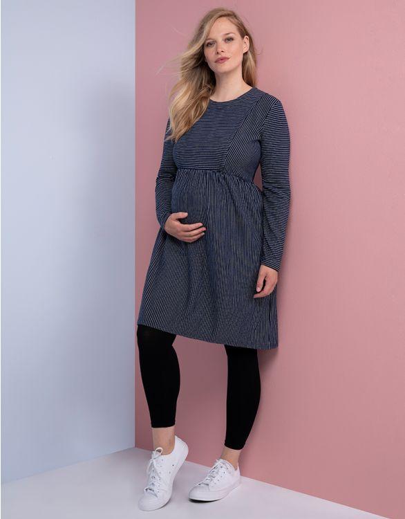 Image pour Robe grossesse et allaitement en coton rayé – Bleu marine/Blanc