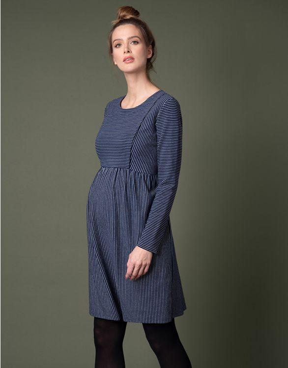 Immagine per  Vestito Premaman e Allattamento Blu a Righe in Cotone