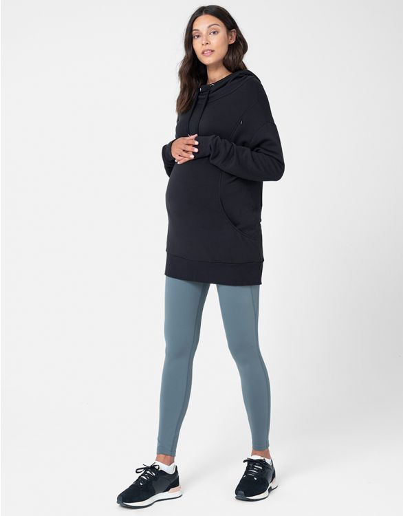 Image pour Sweat à capuche grossesse et allaitement long – Noir