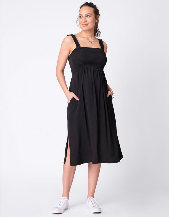 Image for Black Shirred Maternity Midi Dress