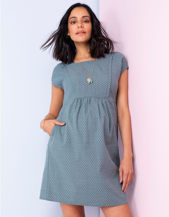 Image for Cotton Button Back Maternity & Nursing Dress