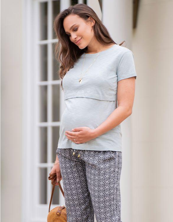 Image pour T-shirt grossesse et allaitement en coton – Vert sauge