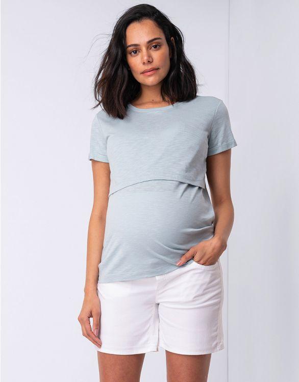 Imagen de Camiseta premamá y lactancia de algodón - Verde salvia