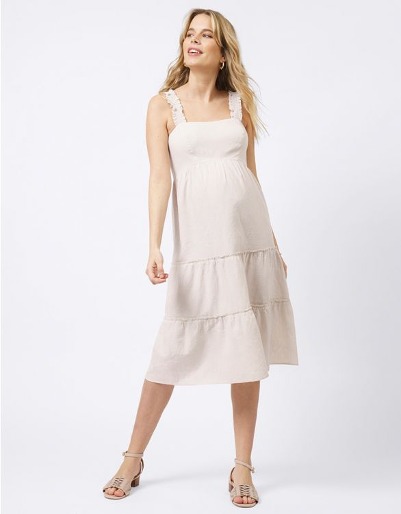 Image for Linen & Cotton Maternity Midi Dress