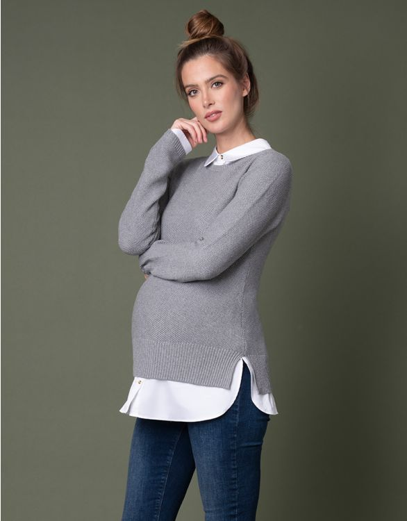 Image pour Pull chemise grossesse et allaitement détachable en mélange de coton – Gris