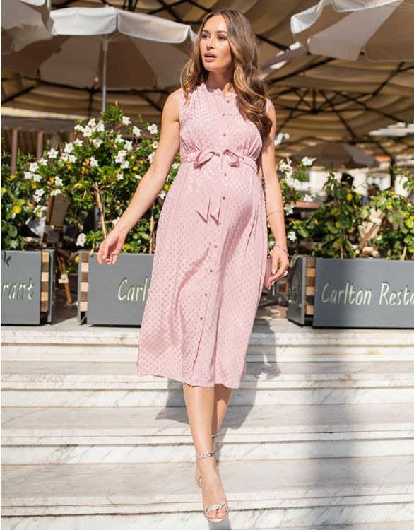 Image for Blush Pink Woven Spot Detail Maternity Midi Dress