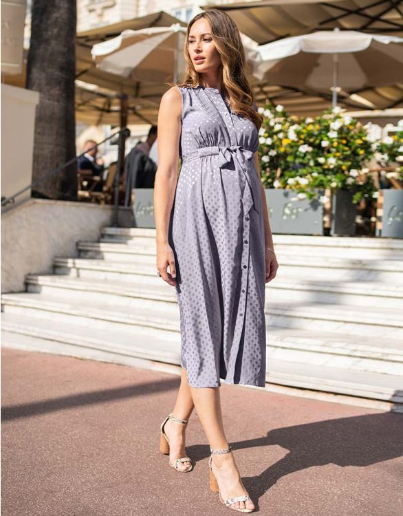 Image for Grey Woven Spot Detail Maternity Midi Dress