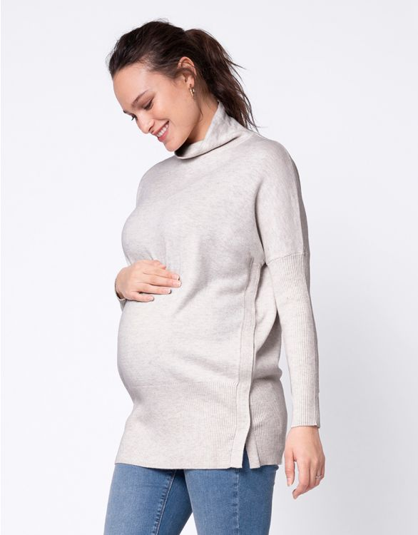 Image pour Haut grossesse et allaitement en maille – Gris