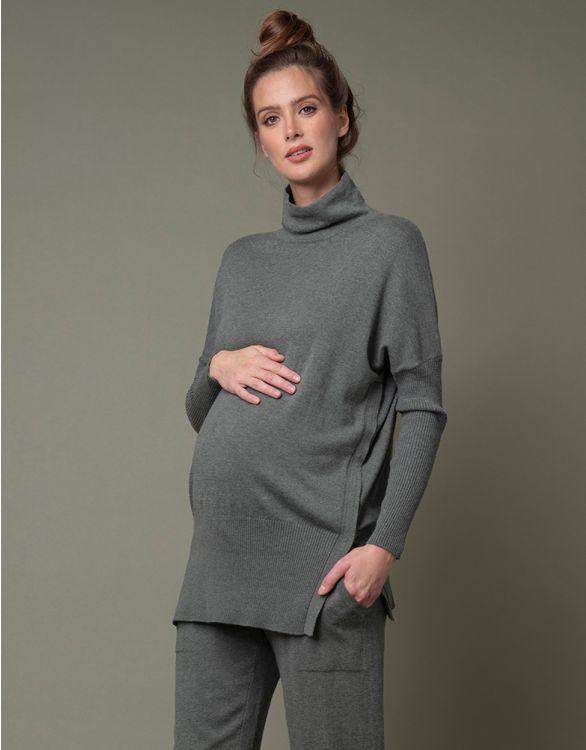 Image pour Haut maternité et allaitement en maille – Kaki