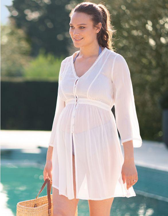 Image pour Caftan grossesse long - Blanc