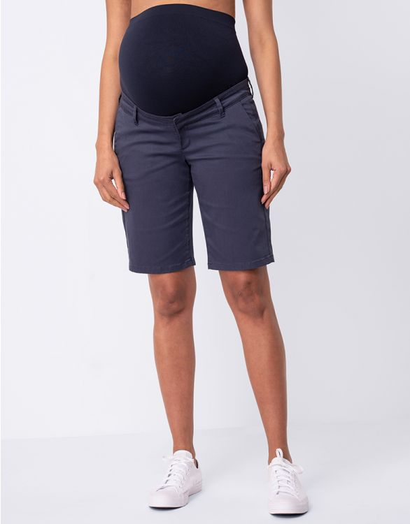 Image for Cotton Blend Navy Blue Maternity Shorts