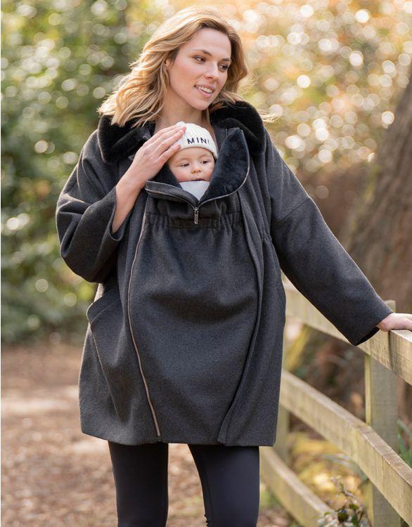Image pour Manteau grossesse 6 en 1 trapèze – Gris foncé