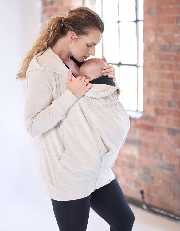 Image pour Sweat à capuche grossesse 3 en 1 en coton – Beige