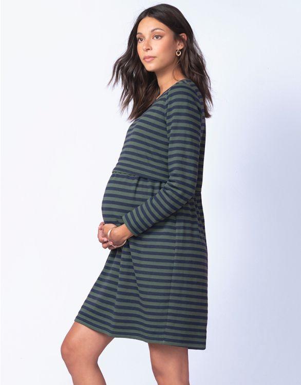 Image pour Robe grossesse et allaitement rayé – Kaki/Bleu marine