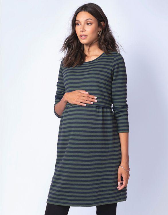 Image for Navy & Green Stripe Maternity & Nursing Dress
