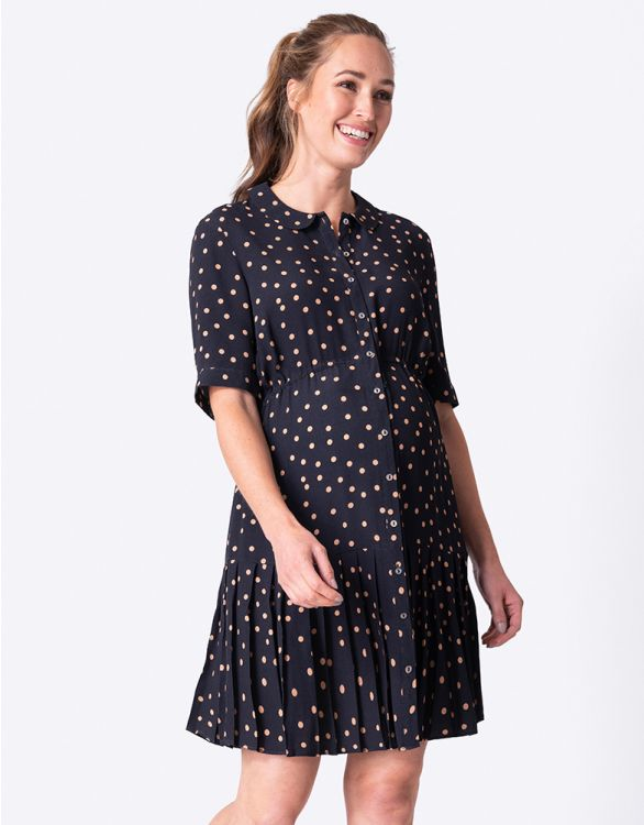 Image for Polka Dot Button-Down Maternity Dress