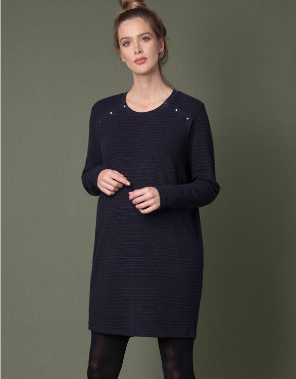 Image for Navy Ribbed Knit Maternity & Nursing Tunic
