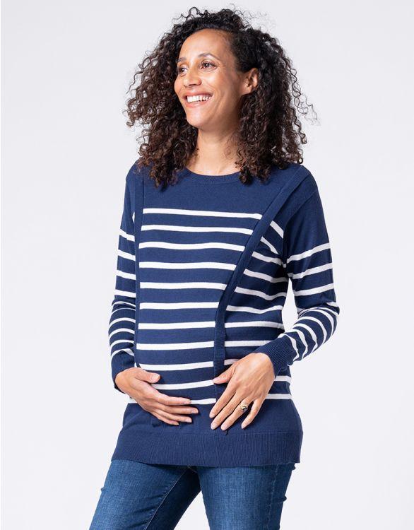 Image pour Pull grossesse et allaitement en mélange de coton – Bleu