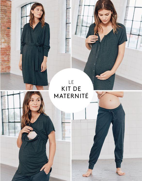 Image pour Pyjama 4 pièces grossesse et allaitement – Gris foncé