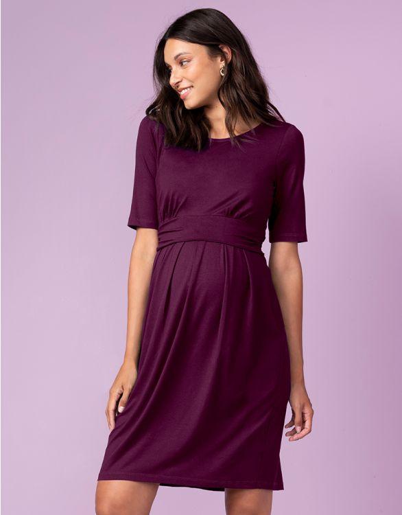 Image for Burgundy Maternity & Nursing Dress