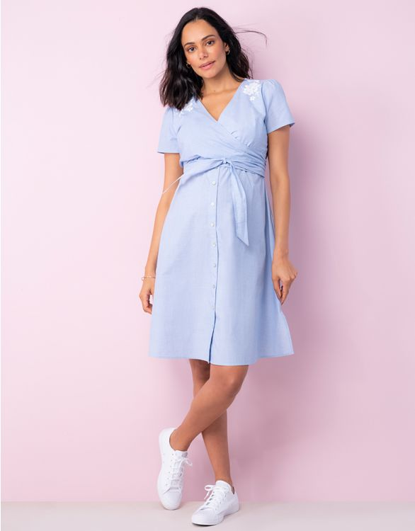 Image for Cotton Wrap Maternity & Nursing Dress