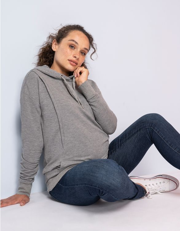 Image for Grey Maternity & Nursing Hoodie