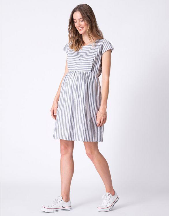 Image for Cotton Stripe Maternity & Nursing Dress