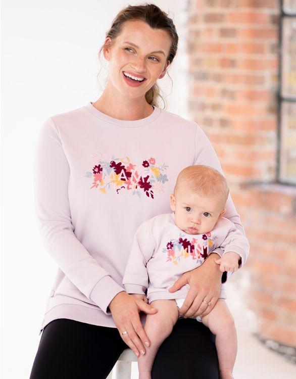 Image pour Sweat Mama et Mini en coton mélangé  – Broderie fleurie