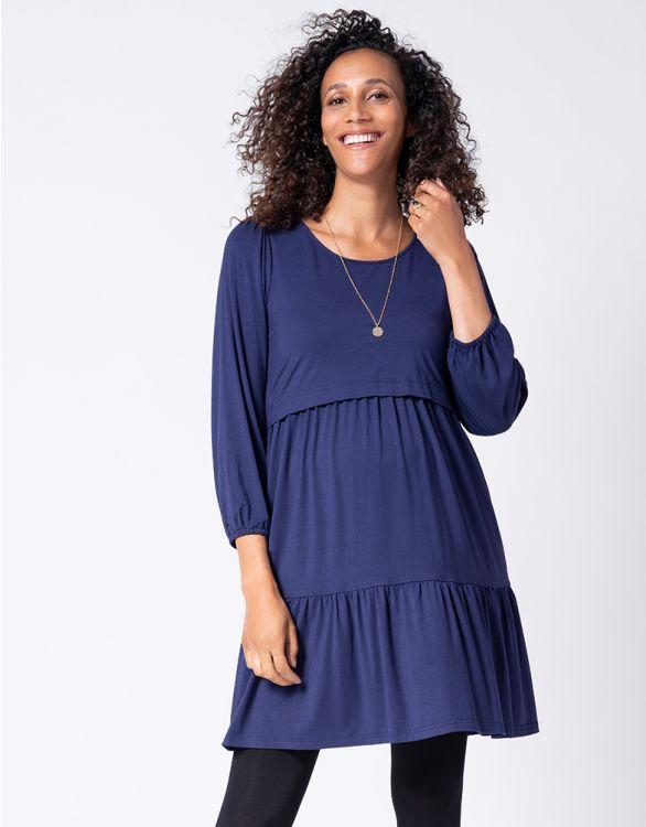 Image pour Robe grossesse et allaitement à volants – Bleu marine