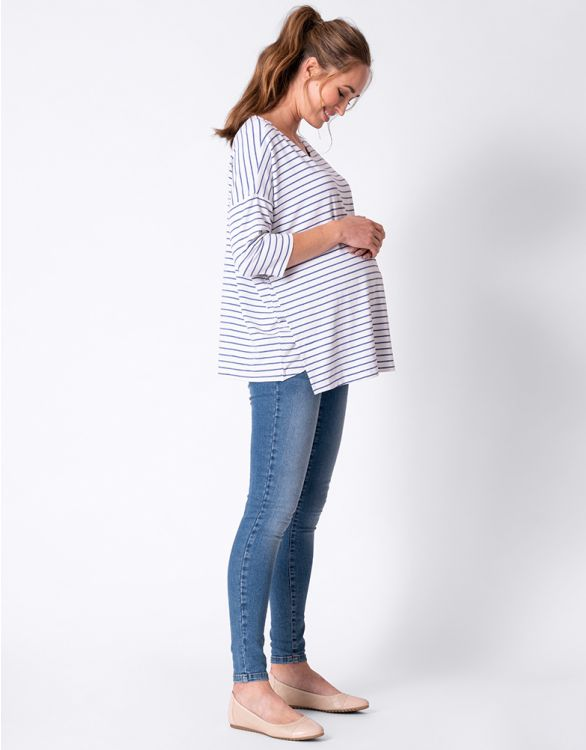 Image for Easy Fit Striped Maternity & Nursing Top