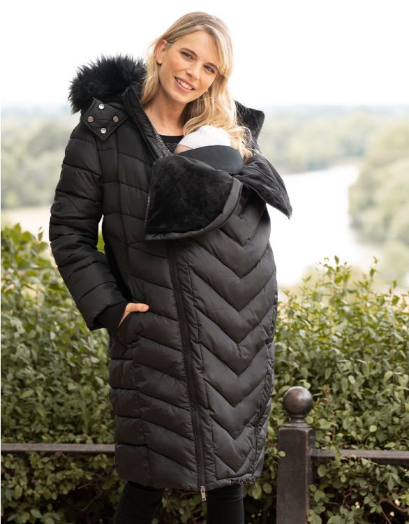 Image for Long Black 3 in 1 Maternity Puffer Jacket