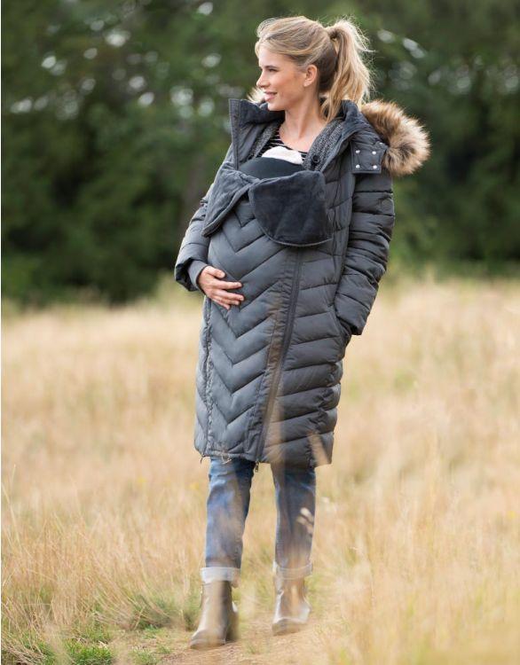 Image pour Doudoune d'hiver écologique grossesse 3 en 1 – Gris