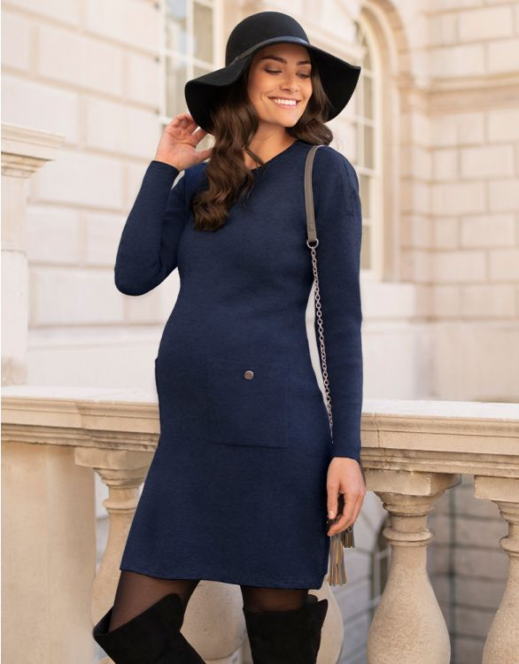 Image for Navy Knitted Maternity & Nursing Dress with Pockets
